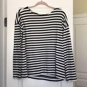 Boat neck striped cotton shirt